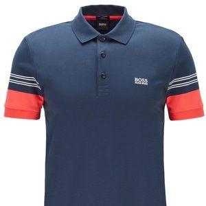 NWT Hugo Boss Blue Polo Shirt with Striped Sleeves